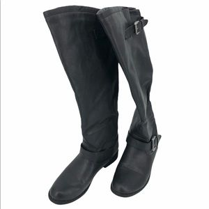 Black Knee High Boots Flat Boots With Buckle
